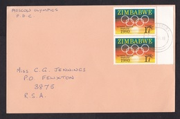 Zimbabwe: Postcard To South Africa, 1980, 2 Stamps, Olympics Moscow, First Day (traces Of Use) - Zimbabwe (1980-...)
