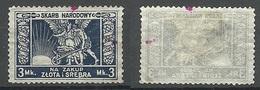 POLEN Poland 1923 SKARB NARODOWY NA ZAKUP ZLOTA I SREBRA Polish Treasury 3 Mk (*) - Revenue Stamps