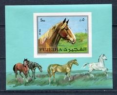 Fujeira  1970 Mi # 587 B BLOCK 33 B FAUNA HORSE AIR POST MNH - Fujeira
