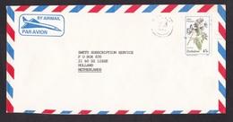 Zimbabwe: Airmail Cover To Netherlands, 1989, 1 Stamp, Wild Flower (minor Damage) - Zimbabwe (1980-...)