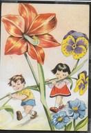 BAMBINI TRA I FIORI - VIAGGIATA 1964 FRANCOBOLLO ASPORTATO - Disegni Infantili
