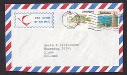 Zimbabwe: Airmail Cover To Netherlands, 1989, 2 Stamps, Tilapia Fish, Hydro Energy Dam (traces Of Use) - Zimbabwe (1980-...)