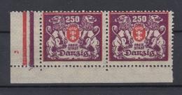 Danzig 143 Eckrand Links Unten Waagerechtes Paar Großes Staatswappen 250 M ** - Danzig