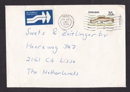 Zimbabwe: Airmail Cover To Netherlands, 1989, 1 Stamp, Fish, Air Label, Cancel Karoi (traces Of Use) - Zimbabwe (1980-...)