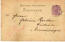 STEMPEL: Krotzingen.- Stamped Stationery 1878 - Germania