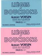 """Lot De 2 Buvards  Neufs   """" Lièges Et Bouchons""""   Albert Voisin  Paris Xème. Un Rose, Un Bleu - L"""