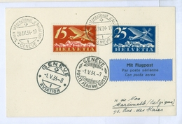 1934 Switzerland, Salon International D'Aviation Pmks. 15c & 25c Air Stamps. - Suisse