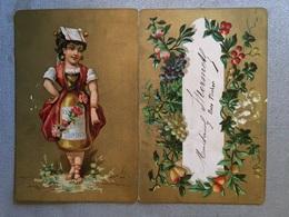Menu Ancien 4 Avril 1888 Carte Chromo Publicitaire Ve Di Torino, Repas De Noce - Menus