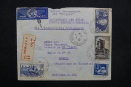 FRANCE - Enveloppe En Recommandé De Bordeaux Pour Bogota Par Avion En 1940, Affranchissement Plaisant Dont Ader- L 32874 - Marcophilie (Lettres)