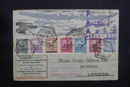 MACAO - Enveloppe 1er Vol De Macao / U.S.A. Pour Londres En 1937, Affranchissement Plaisant - L 32876 - Macao
