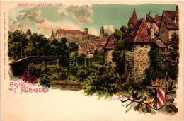 Germany, Nürnberg, Nuremberg, Burg Vom Spittlerthor, Old Litho Postcard - Nuernberg