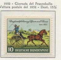 PIA - GERMANIA - 1952  :  Giornata Del Francobollo  - Vettura Postale Del 1852 -   (Yv 47) - Giornata Del Francobollo