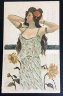 Beauvais Liqueur Flageotine Herouart Art Nouveau Jeune Femme Tournesol Style Kirchner Dorures - Illustrateurs & Photographes