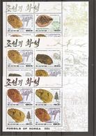 Corée Du Nord - Fossiles ( 3610/3613 En Feuilles D'émission XXX -MNh) - Corée Du Nord