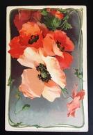 Très Jolie CPA Meissner Buch Lith Leipzig Fleur Pavot Coquelicot - Illustrateurs & Photographes