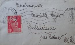 R1949/960 - 1949 - MARIANNE DE GANDON - N°721 Seul Sur Petite ✉️ - CàD De SARREGUEMINES-GARE Du 3 JANVIER 1949 - France