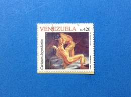 1998 VENEZUELA FRANCOBOLLO USATO STAMP USED NATIVI AMERICANI TIUNA PRIMI MANTEIGA 420 BS - Venezuela