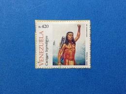 1998 VENEZUELA FRANCOBOLLO USATO STAMP USED NATIVI AMERICANI MARA PRIMI MANTEIGA 420 BS - Venezuela