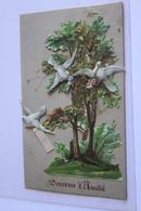 Petite Carte   6,.2cm X 10 Cm Decoupies Arbres Oiseaux Souvenir D Amitie - Animali