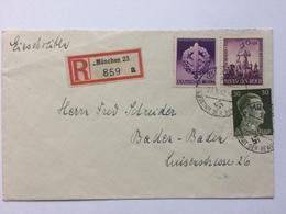 GERMANY 1942 Cover Registered Munchen To Baden Baden - Haupstadt Der Bewegung - Germany