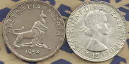 AUSTRALIA 1 FLORIN ROYAL VISIT ANIMAL RONT QEII  HEAD BACK 1954  CV$15AUS VF SILVER KM55 READ DESCRIPTION CAREFULLY !!! - Monnaie Pré-décimale (1910-1965)