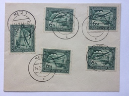 GERMANY 1944 Philatelic Cover Tied With X 5 25th Anniversary Of Air Mail Services - Metz Marks - Allemagne