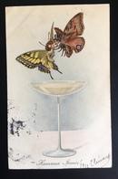 Surrealisme Anthropomorphisme Jolie CPA Couple Papillon Coupe Champagne Bonne Année - Illustrateurs & Photographes