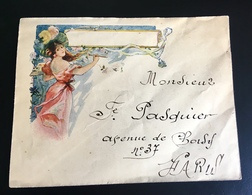 Belle Enveloppe Illustrée Style Cheret Femme Art Nouveau Adresse Pasquier Av Choisy Paris - Illustrateurs & Photographes