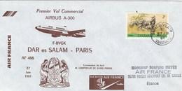Tanzania - Tanzanie - Premier Vol Commercial Air France Airbus A300 Dar Es Salam-Paris - 1981 - Tansania (1964-...)