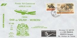 Tanzania - Tanzanie - Premier Vol Commercial Air France Airbus A300 Dar Es Salam- Moroni (Comores) - 1981 - Tansania (1964-...)