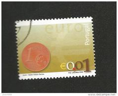 N° 2540 Nouvelle Pièce Euro 0,01 Euro;  Oblitéré Timbre  Portugal 2002 - Oblitérés