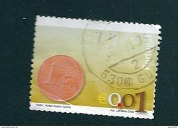 N° 2540 Nouvelle Pièce Euro 0,01 Euro;  Oblitéré Timbre  Portugal 2002 (pli Offert) - Oblitérés