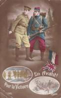 AQ33 Patriotic - French And English Soldiers, Flags - Pour La Victoire, En Avant! - Patriotic