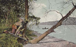 AR32 Ethnic - Indian Warrior Waiting The Approach Of Deerslayer, Otsego Lake, N.Y. - America