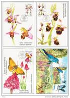 Czech Ceska Republic 2007 Fauna Flora Bird Birds Butterfly, Maximum Card, European Roller, Ophrys Apifera Fuciflora - FDC