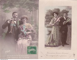 Lot 4 CPA 1er AVRIL. Couples De Jeunes Gens, Homme Costume Cravate, Femme Robe Longue D'organdi . ...Z511 - 1er Avril - Poisson D'avril
