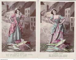 Lot 4 CPA 1er AVRIL.  Belle Vendeuse De Poisson, Robe Longue Décolletée, Barque, Paysage, Roses. ...Z496 - 1er Avril - Poisson D'avril