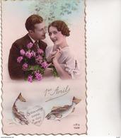 Lot 4 CPA 1er AVRIL. Couples De Jeunes Gens Amoureux, Fleurs, épuisette. ...Z492 - 1er Avril - Poisson D'avril