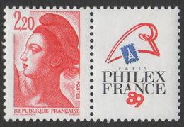 France Neuf Sans Charnière 1987 Liberté De Gandon D'après Delacroix Philex France 89 YT 2461 - 1982-90 Liberty Of Gandon