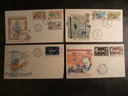 Nouvelles-Hébrides - Années 1960 - Lot De 4 Enveloppes FDC - Churchill - Football - Bougainville - Poisson - FDC