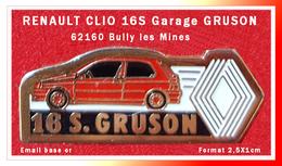SUPER PIN'S RENAULT : R5 16S Rouge, Garage GRUSON à BULLY Les MINES (62), Format 2,5X1cm - Renault