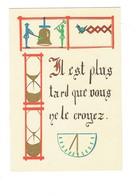 """Cpa Illustration  - Il Est Plus Tard Que Vous Ne Le Croyez - Cloche Oiseau """"coucou"""" à Ressort Sablier Horloge Jaquemart - Pintura & Cuadros"""