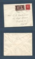 MARRUECOS - British. 1935 (29 Oct) Tanger - USA, Buffalo, NY. Ovptd Issue. Fkd Env At 2 1/2d Rate, Incl. Coronation Issu - Marokko (1956-...)
