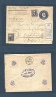 ARGENTINA. 1903 (January) Bs As - France, Vosges, Neufchateu (14 Feb) Registered 5c /12c Blue Stationary Envelope + 2 St - Argentine