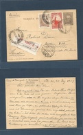 Argentina - Stationery. 1937 (25 Dec) BA - Austria, Wien (31 Dec) Registered Airmail 4c Grey Stat Card + Two Adtls Chris - Zonder Classificatie