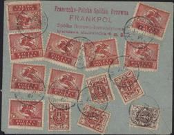 Lettre Recommandée Exprès CAD Warszawa 7 1 22 YT Pologne 215 X9 + 224 X4 + 222 CAD Paris Distribution 10 11 22 - 1919-1939 República