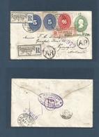 MEXICO - Stationery. 1895 (13 March) Jalapa - Netherlands, Nymegen (28 March) Registered Late Hidalgo HABILITADO Overpri - Mexique