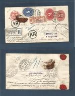 MEXICO. 1894 (24 May) Catorce - Rusia, Zarskoc Selo. Via NYC. Registered AR 12c Large  Unusual Stationary Envelope + Two - Mexiko