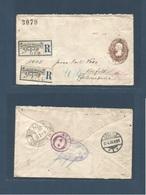 MEXICO - Stationery. 1895 (3 April) DF - Germany, Krefeld (19 Apr) 25c Lilac On 4c Ovptd Issue. Via NYC (10 Apr) Extraor - Mexico