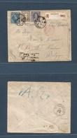 ARGENTINA. 1892 (17 Dic) Tolosa - Belgium, St. Nicolas. (13 Jan 93) Registered Tricolor Multifkd Env At 36c Rate On Issu - Argentina